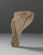 Ножка резная из дерева для тумб, кресел и шкафов. Опора мягкой и корпусной мебели кабриоль. 110 мм, фото 2
