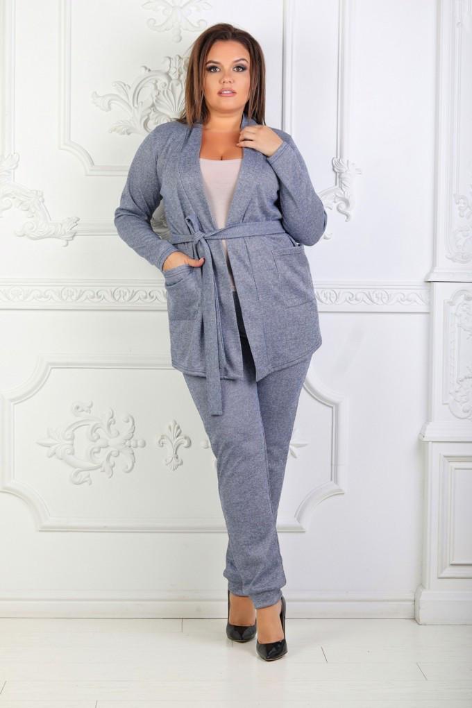 Элегантный костюм больших размеров, штаны и кардиган на запах с карманами  / 2 цвета  арт 6725-574