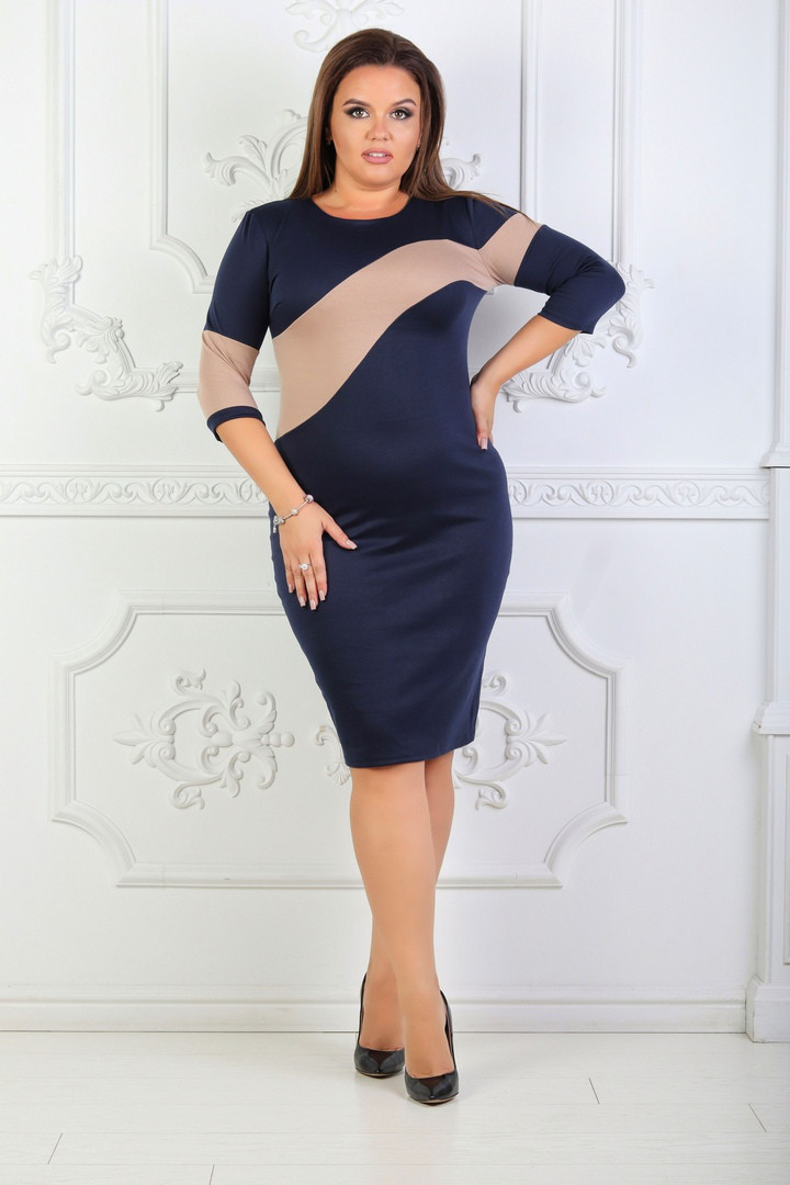 Трикотажное платье больших размеров 48+ , рукав три четверти  /3 цвета   арт 6729-574