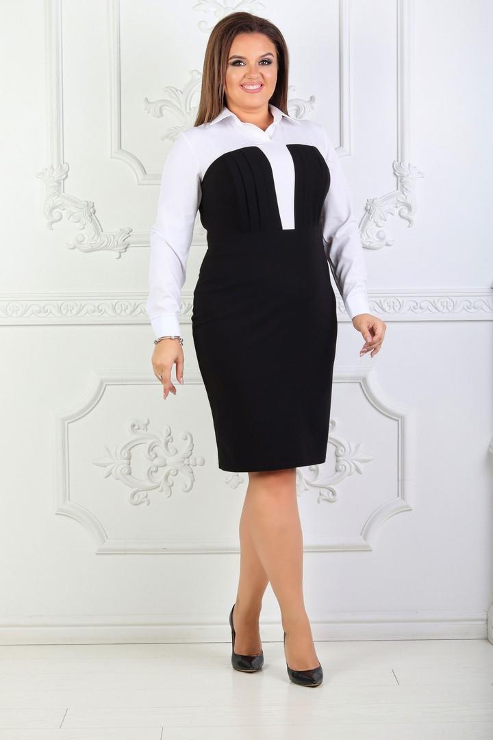 Платье больших размеров 48+ в классическом стиле с рубашечным воротником   /2 цвета   арт 6731-574