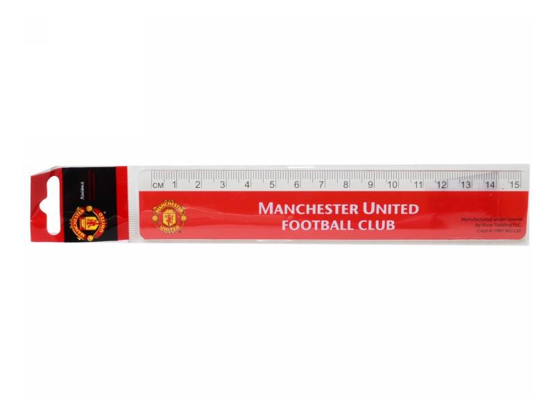 Линейка пласт., 15см Manchester United /1/48/720/(MU14-090K)