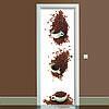 Наклейка на дверь Кофейные чашки полноцветная виниловая пленка ПВХ декор двери скинали 65*200 см