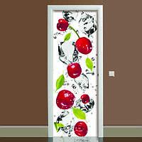 Наклейка на дверь Черешня, (полноцветная фотопечать, пленка для двери)