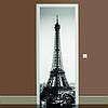 Наклейка на дверь черно-белая Эйфелева башня 01, (полноцветная фотопечать, пленка для двери)