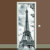 Наклейка на дверь черно-белая Эйфелева башня полноцветная виниловая пленка ПВХ декор двери скинали 65*200 см