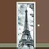 Наклейка на двері чорно-біла Ейфелева вежа кольоровий вінілова плівка ПВХ декор двері скіналі 65*200см