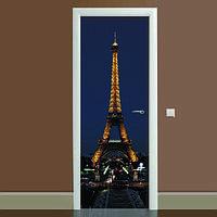 Наклейка на двері Ейфелева вежа 03 кольоровий вінілова плівка ПВХ декор двері скіналі 65*200см