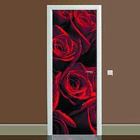 Наклейка на дверь Алые розы, (полноцветная фотопечать, пленка для двери)