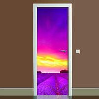 Наклейка на дверь Лаванда 01, (полноцветная фотопечать, пленка для двери)