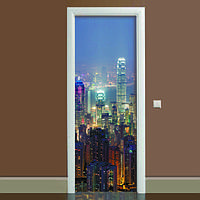 Наклейка на дверь Ночной город, (полноцветная фотопечать, пленка для двери)