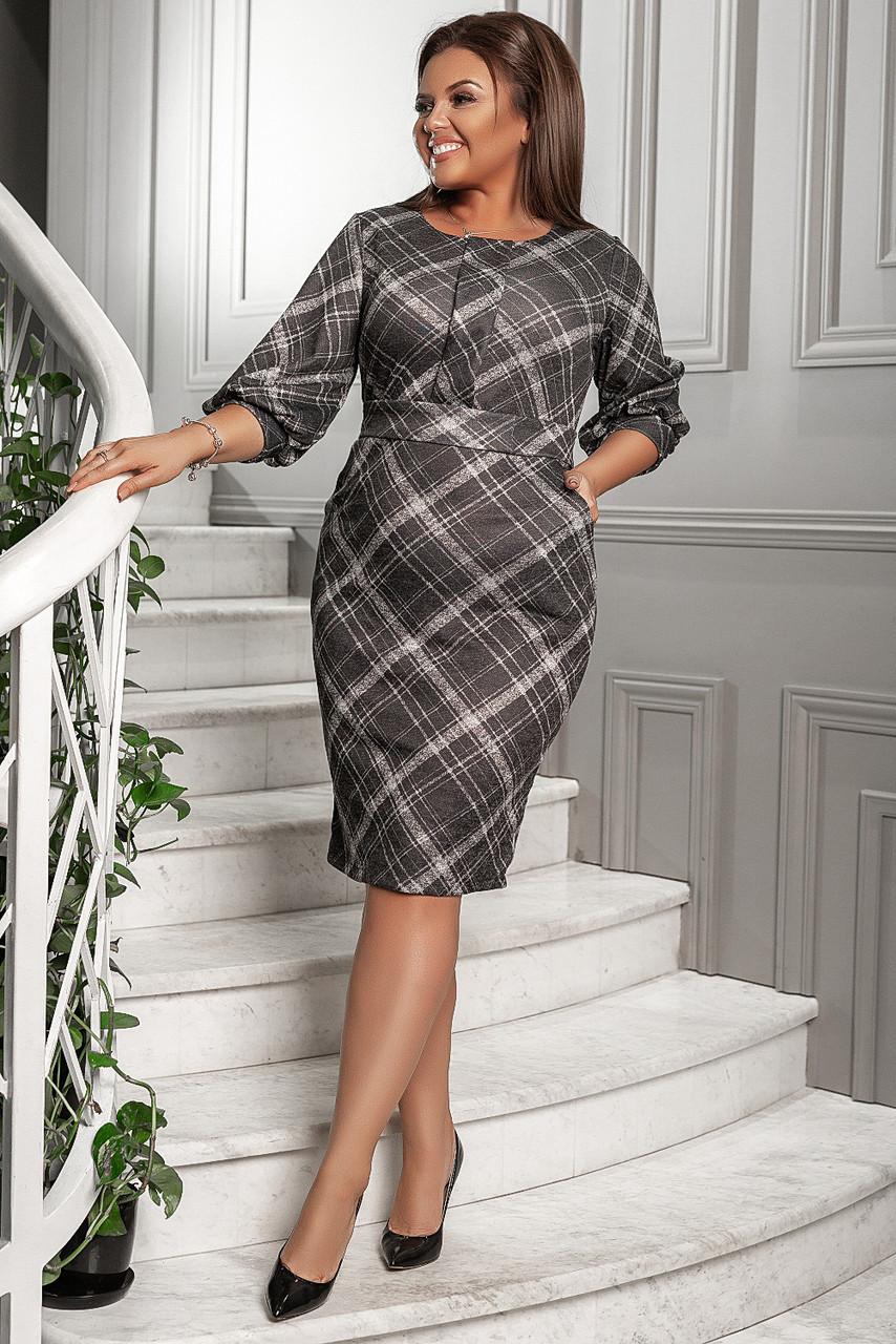 Платье больших размеров 50+ принт клетка, с карманами, поясом, рукав фонарик /3  цвета   арт 6744-591