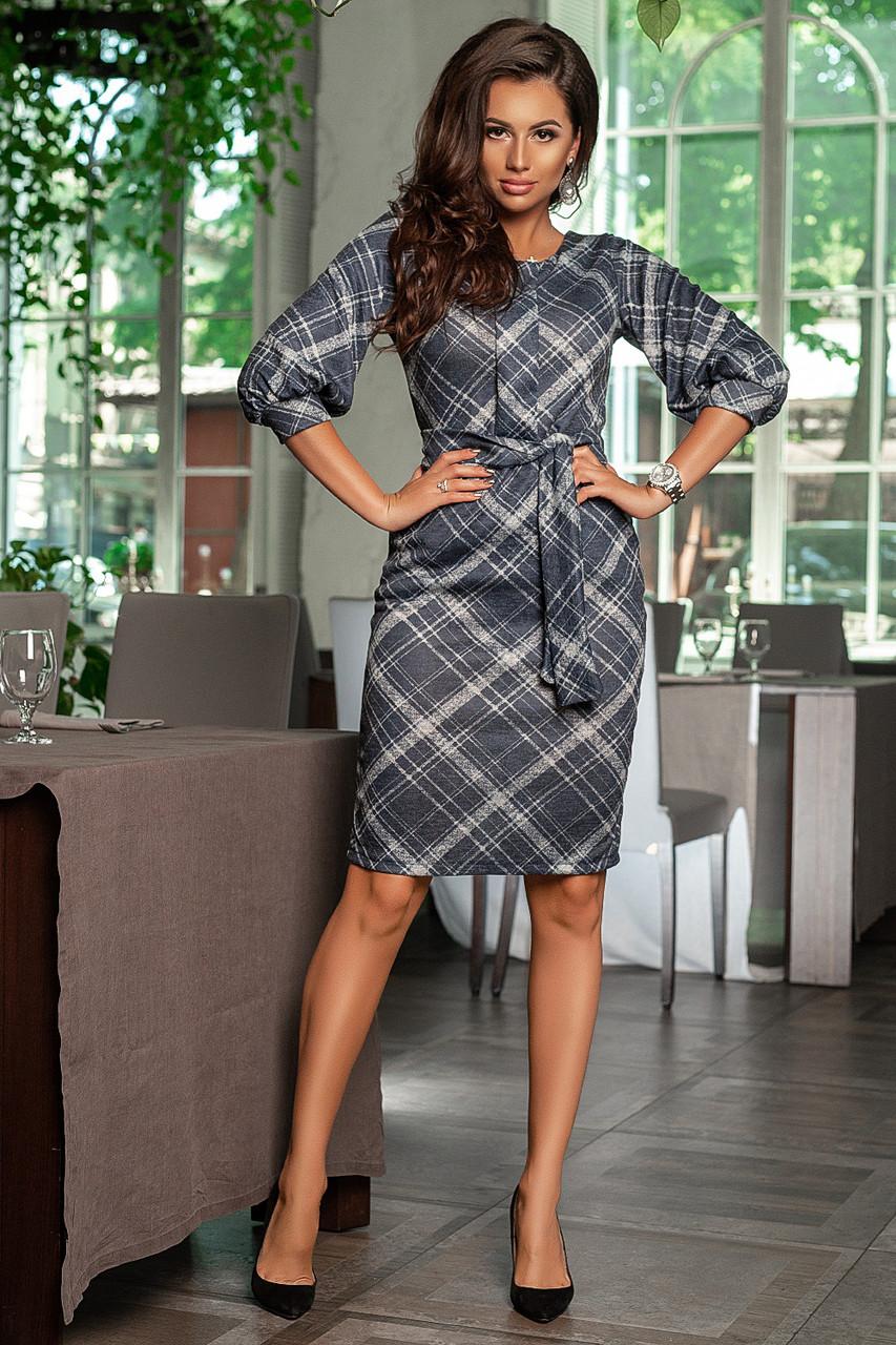 Платье приталенное принт клетка, с карманами, поясом, рукав фонарик / 3  цвета   арт 6745-591