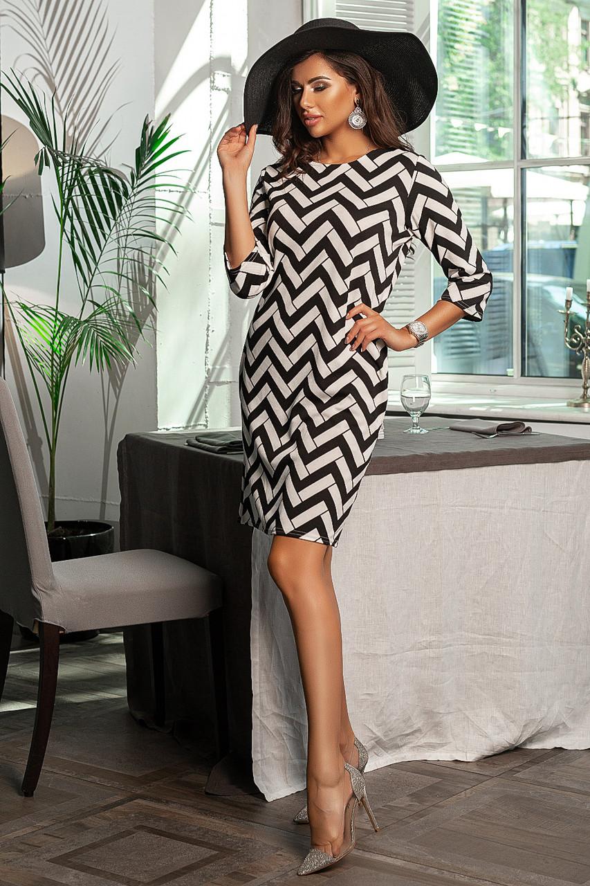Приталенное платье   с карманами, принт зиг-заг  /2  цвета   арт 6747-591
