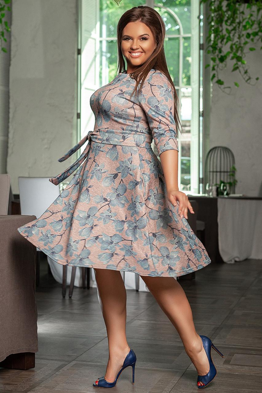 Платье больших размеров 48+ с расклешенной юбкой, в комплекте пояс, цветочный принт  /3  цвета   арт 6748-591