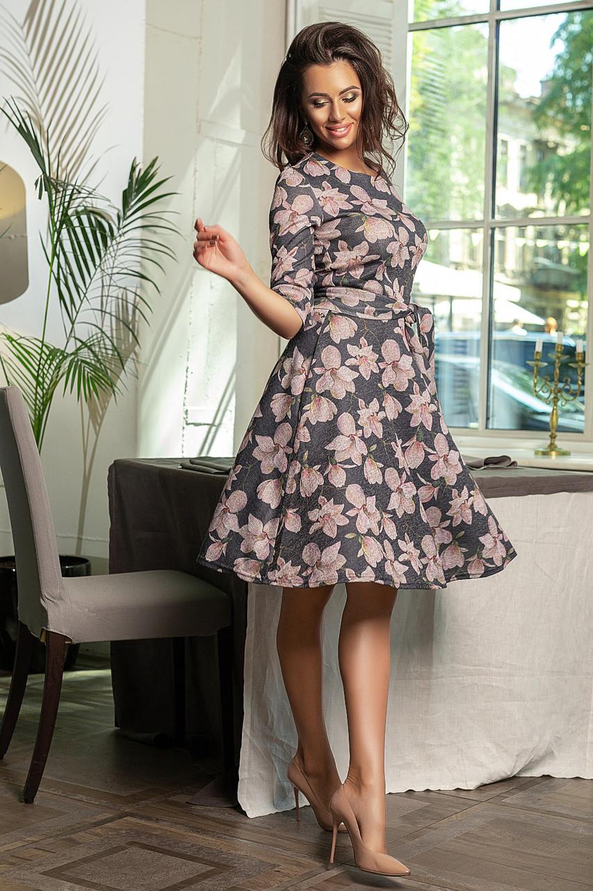 Платье   с расклешенной юбкой, в комплекте пояс, цветочный принт  /3  цвета   арт 6749-591
