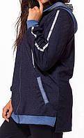 Женский демисезонный спортивный костюм из трикотажа и дайвинга размеры 48-56 со стразами