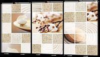 Картина  модульная Коллаж сакура и песок