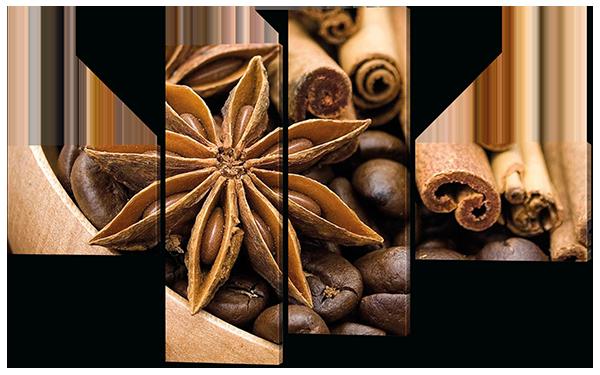 Модульная картина  Кофе, бадьян и корица