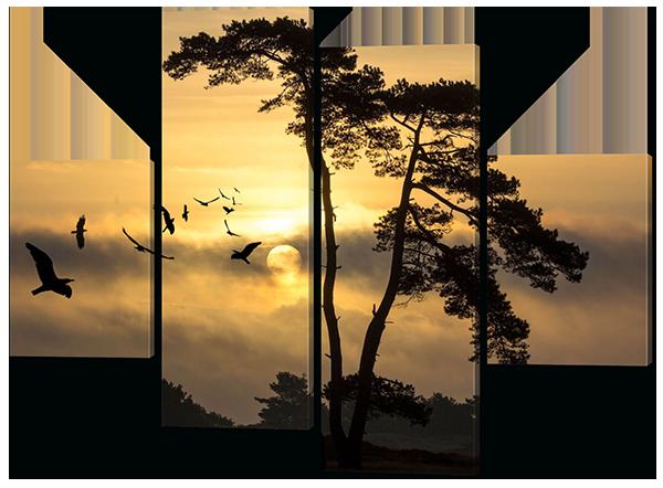 Модульная картина дерево и птицы