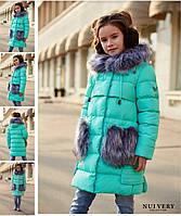 Детское зимнее Пальто на девочку бренда Nui Very Полианна Размеры 116- 158 Новинка!