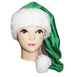 Новогодняя шапка Эльфа Зеленая Деда Мороза Колпак Санта Клауса Santa Claus   удлиненная взрослая.