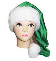 Новогодняя шапка Эльфа Зеленая Деда Мороза Колпак Санта Клауса Santa Claus   удлиненная взрослая., фото 1