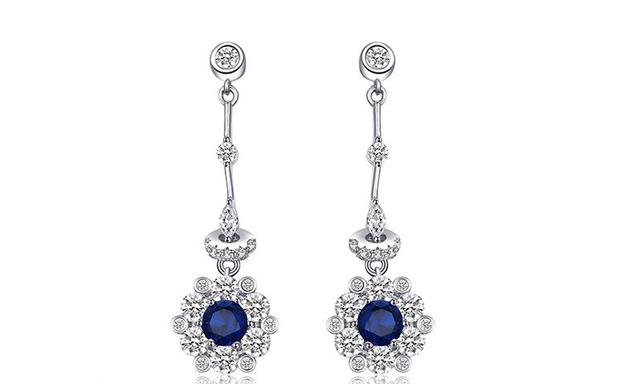 Серебряные серьги с синим камнем