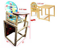 Стульчик-столик для кормления 2в1 трансформер с ремнями безопасности