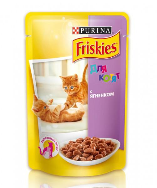 """Влажный корм для котят Friskies ( Фрискис) """"Для котят с ягненком"""" 100 гр, пауч."""