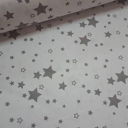 Ткань польская хлопковая, серый звездопад на белом