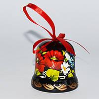 Украинский сувенир Колокольчик деревянный Петриковская роспись. Букет, фото 1
