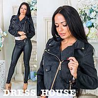 Замшевая женская куртка косуха в расцветках 501107, фото 1