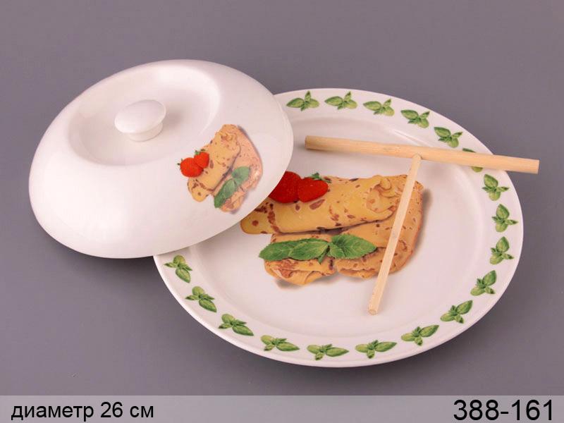 Блюдо для блинов с крышкой и лопаткой Lefard Земляника 26 см, 388-161