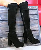 Замшевые ботфорты на каблуке черного цвета Anna Lucci