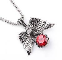 Фантастическая подвеска, кулон орел с красным кристаллом, фото 1
