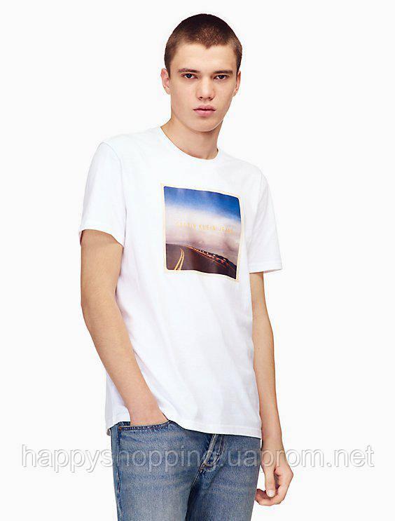 Мужская белая футболка с принтом Calvin Klein Jeans