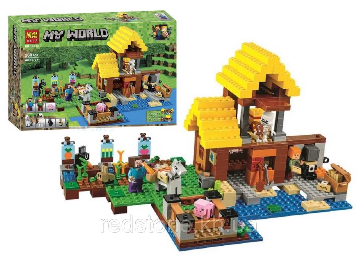 """Конструктор Bela 10813 """"Фермерский коттедж"""" (Lego Minecraft 21144), 560 дет."""