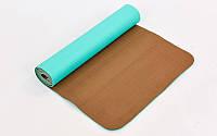 Коврик для йоги и фитнеса Yoga mat 2-х слойный TPE+TC 6mm FI-3046-14 (1.83*0.61*6mm) мятный-кофе