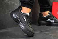 Мужские кроссовки Fila Disruptor 2 Yalor  весенние осенние стильные кожаные на платформе (черные), ТОП-реплик