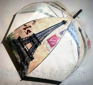 """Зонт-трость прозрачный с изображением """"Париж"""", фото 2"""