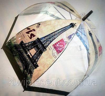 """Зонт-трость прозрачный с изображением """"Париж"""""""