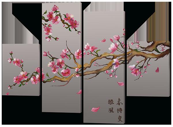 Модульная картина Сакура в художественном стиле