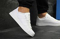 Мужские кеды Adidas Stan Smith топовые прикольные удобные повседневные весна-осень-лето(белые), ТОП-реплика , фото 1