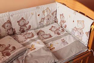 Простынь на резинке 120х60х18 см Мишки горошек серый