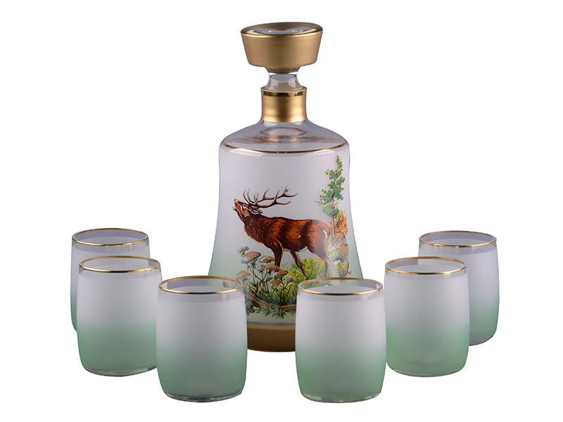 Набор для водки NB Art Охота (Штоф 1000 мл+рюмки 150 мл 6 шт) зеленый, 615-462