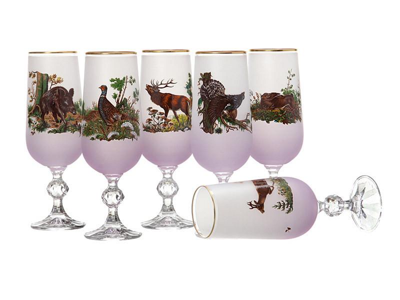 Набор бокалов для шампанского NB Art Охота 180 мл 6 шт (розовый), 615-469