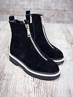 Замшевые ботинки на низком ходу 37 р чёрный
