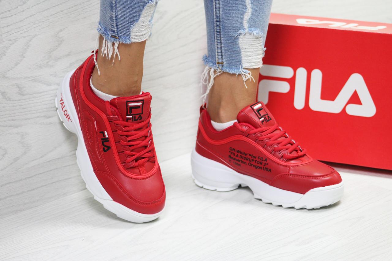 Кроссовки  женские Fila Disruptor фила яркие молодежные на платформе удобные (красные с белым), ТОП-реплика