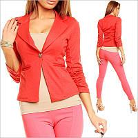 Женский пиджак красного цвета, офисная одежда для девушек