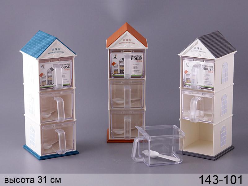 Набор емкостей для сыпучих продуктов на подставке Lefard  4 предмета 14х11х31 см, 143-101